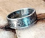 Coinring, Münzring, Ring aus Münze (5 Mark Deutsches Reich 1934), 625er Silber - Double Sided coin ring - Größe 66 (21.0), 2. Wahl, handgeschmiedetes Unikat