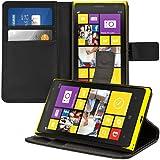 kwmobile Hülle für Nokia Lumia 1020 - Wallet Case Handy Schutzhülle Kunstleder - Handycover Klapphülle mit Kartenfach und Ständer Schwarz