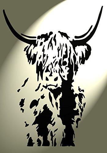 Shabby Chic Schablone Highland Kuh Rind Design 2Vintage A4297x 210mm Wand Möbel