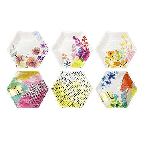 Talking Tables Fluorescent Floral; Sechseckige farbenfrohe Pappteller mit Blumenmotiven für Geburtstagspartys, Bunt, 16,5 x 19 cm (12 pro Pack in 6 Designs)