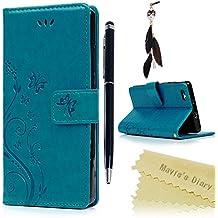 Mavis's Diary Huawei P8 Lite Cover Blu, Retro Fiore Modello Stampata Design Con Cinturino da Polso, Magnetico Snap-on Book Style Internamente Silicone TPU Case Protettiva Pelle Folio Flip Custodia - Goffratura Arts Farfalla Fiore (Non per versione 2017)