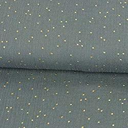 Tela de muselina de algodón doble de color gris con lunares dorados. Certificado Öko-Tex.