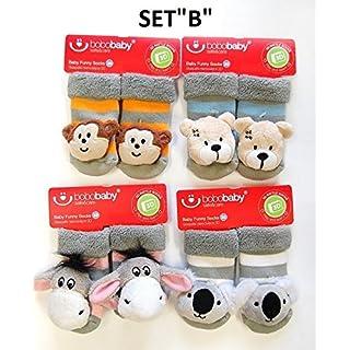3D Rasselsocken Babysocken Kindersocken Spielsocken Söckchen Gr. 11 cm- 4 Stk. pro Set // Ideale Geschenkidee // (Set B)