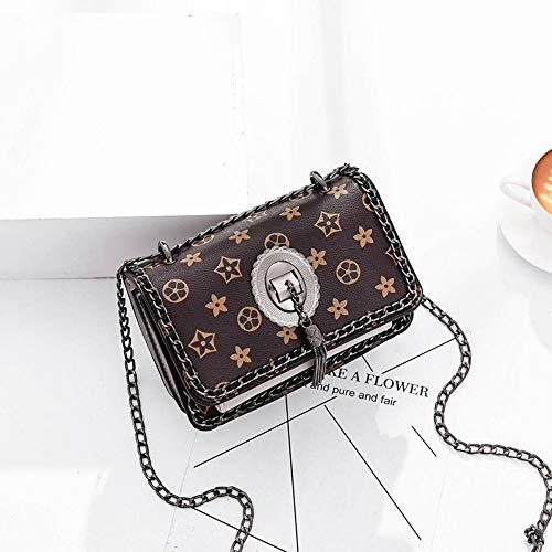 WOAIRAN Weibliche Umhängetasche Damenmode Pu Einfache Vintage Printing Messenger Bags Damen Einfache Freizeit Umhängetasche Kette Mini Kleine Quadratische Tasche Grau