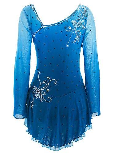 Heart&M Eiskunstlaufkleid Damen Mädchen Eislaufen Kleider Azurblau Elasthan Strass Hochelastisch Leistung Eiskunstlaufkleidung Handgemacht M (Rüschen Königsblau Und Strass)