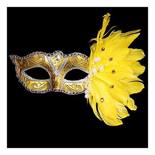 SCLMJ Halloween Party Maske Seite Gefiederten Perle Dekoration Halbe Gesichtsmaske Für Maskerade Party, Gelb