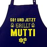 So! und jetzt grillt Mutti - Grillschürze für Frauen mit Seitentasche und verstellbarem