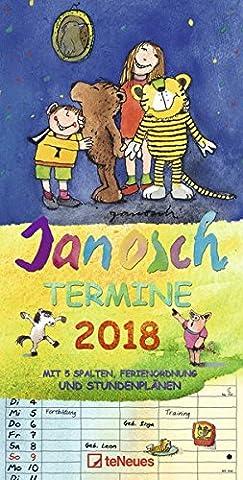 Janosch Familientermine 2018 - Familienkalender, 5 Spalten, Terminplaner, Kalender für Kinder, mit Stundenplan - 23 x 48 cm