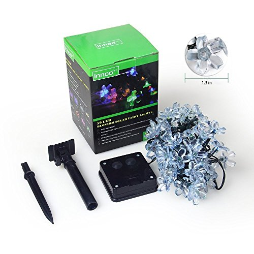 InnooTech LED Solar Blumen Lichterkette 5 Meter 50er Warmweiß, Außerlichterkette Deko für Garten, Hochzeit, Party usw. - 7