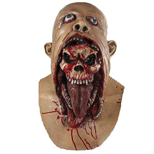 SCLMJ Vollen Kopf Maske Schmelzen Zombie Bloody Untoten Horror Erwachsenen Latex Scary Insane Maskerade Party Halloween Kostüm Maske