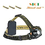Sensor LED Head Torch, Super Bright Lightweight Waterproof CREE XP-E R3 LED Headlamp Headlight for Running, Dog Walking, Camping, Hiking, Fishing, Cycling, Night Reading, DIY Works, 3 AAA Batteries Included, 90 Degrees Adjustable by Street Cat