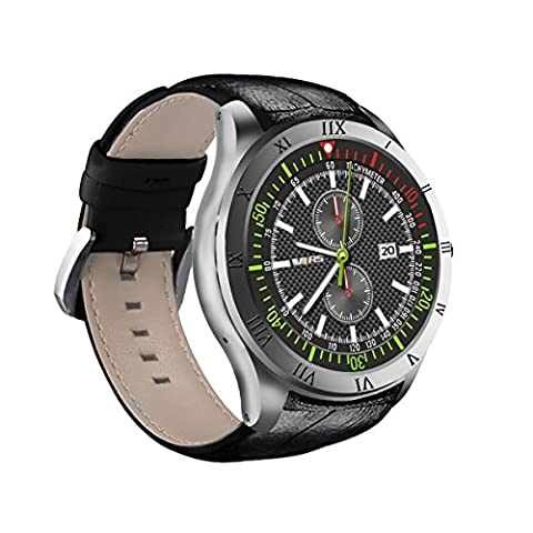 Diggro DI05 Montre Intelligente Bluetooth 3G Smart Watch Android 5.1 MTK6580 1.3GHZ Quad Core RAM / ROM 512 Mo + 8 Go 1.39 pouces AMOLED Support 3G NANO SIM Card WIFI Call/Message Moniteur de Rythme Cardiaque Rappel Santé GPS Prévisions Météo GPS pour Android et IOS -Argenté