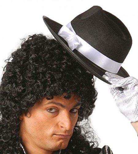 Black Hat mit White Ribbon für Gangster verkleiden sich Michael (Michael Jackson And Black Kostüm White)