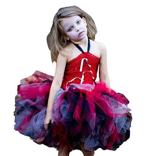 GJKK Halloween Kostüm, Mädchen Cosplay Vampir Tutu Kleid Trägerkleid Schulterfrei Partykleid Prinzessin Vampir Kostüm Halloween Zombie-Schulmädchen Kostüm (Halloween Schulmädchen Kostüm Kinder)