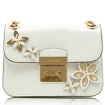 Borsa a tracolla Michael Kors Flowers Sloan Editor in pelle bianca