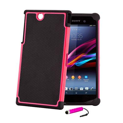 32nd® Stoßfeste silikon schutzschülle für Sony Xperia Z Ultra (XL39H), inklusive displayschutzfolie - Hot Pink