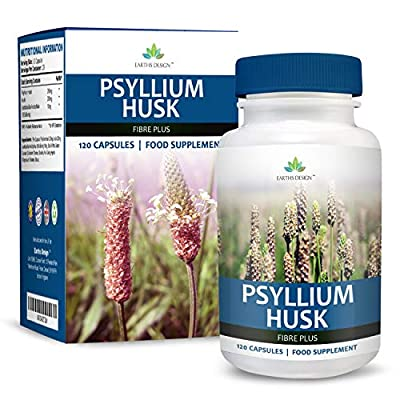 Earths Design Psyllium Husk, Fiber Supplement, With Probiotic, Natural Laxative that Promotes Bowel Regularity, Supports Weight Loss, 500mg - 120 Capsules from Earths Design