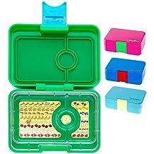 Yumbox Mini Snackbox (Amy Green) - Kinder Bento-box, auslaufsicher und 3 untereinander dichte Fächer, Brotdose mit Unterteilung für Krippe, Kita, Snack Unterwegs
