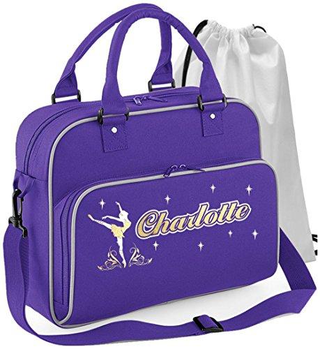 MusicaliTee Ballet Dancer - on Pointe - Purple Lila - Personalisierte Tanztasche & Schuh Tasche Dance Bags