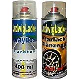 Autolack 2 Spraydosen im Set in Ihrer Wunschfarbe 1x400ml Farbe 1x400ml Klarlackspray auch in metallic und pearl schwarz weiß silber uvm. über 50000 Farben mischbar