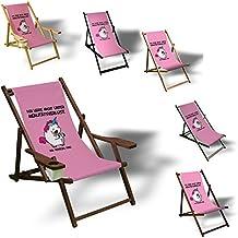 Einhorn - Realitätsverlust - Liegestuhl bedruckt Balkon Garten Sonnenliege Relax Holz Terrasse, Variante:mit Armlehne. Dunkelbraun