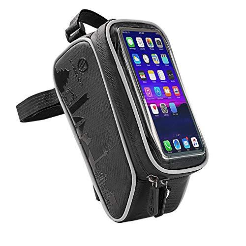 Wasserdicht Fahrrad Rahmentaschen Waterproof Bike Phone Mount Holder Pouch Bag,Fahrradtaschen Fahrrad with Water Resistant Frame Transparent Touchable For Under 6 Inchs Smartphone Handytasche, black -
