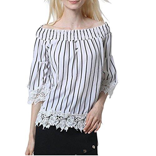 Bekleidung Longra Damen Spitze Bluse Patchwork Schrägstrich halbes  Hülsen-lose Schulterfrei Streifen T Shirt Oberseite