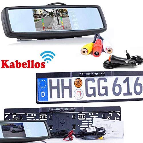 Rückfahrkamera mit Kennzeichenhalter inkl. Spiegelmonitor - Bis zu 5 Jahre Garantie. Drahtloser Kabellose Funk oder Kabel Vinbindung für PKW KFZ Auto Bus & Transporter - Rear View Camera Kamera