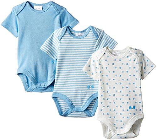 Twins Baby - Jungen Kurzarm-Body im 3er Pack mit zartem Print, Mehrfarbig, Gr. 86, Blau (baby blue)