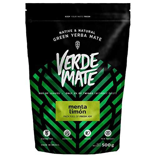 Yerba Verde Mate Green Menta Limon Té 500g | Verde Mate Green Té Menta Limon | Yerba Mate de Brasil | Alta Calidad | Yerba mate té muy estimulante | Sin Gluten | Sin humo