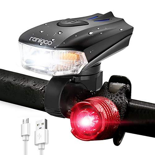 RANIACO Luci Bicicletta LED Ricaricabili USB, Luce Bici Anteriore e Posteriore Super Luminoso Luce Bici LED, 1200 mAh/400LM Fanale per Bici MTB Luce a LED per Bicicletta, 5 modalità di Luce