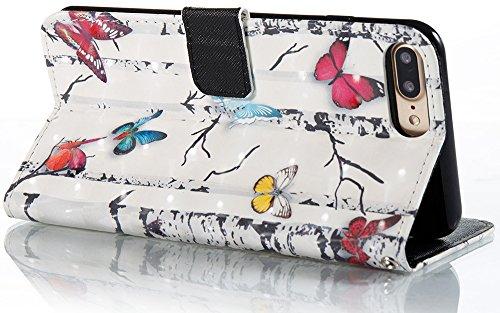 Roreikes Apple IPhone 8 Plus Hülle Leder Flip Case Echt,Apple IPhone 7 Plus Hülle Folio PU Leather Handytasche Brieftasche Schutz Etui Schale Und Weich TPU Silikon, Bunt Gemalt Retro Kreativ Lanyard S Schmetterlinge