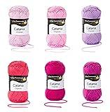 Schachenmayr Catania Wolle Set 7, 6x50 Gr., 100 % Baumwolle Pink Mix