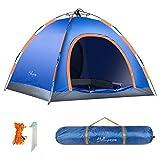 HollyHome - Tienda de campaña con bolsa de transporte, doble capa, 2 puertas, 4 estaciones, ligera y resistente al agua, azul y naranja