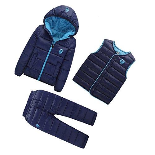 Dr.mama Daunenmantel für Baby Jungen Mädchen Down Jacket 3tlg Kinder Winterjacke mit Kapuze Outerwear Steppjacke+Weste+Hose Ein Set