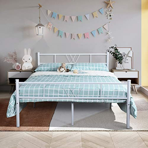 Aingoo Doppelbett Bettgestell mit Lattenrost Solides Metallbett mit klassischem Kopfteil für Erwachsene Kinder Kinder Passend für 140 * 190 cm Matratze Weiß