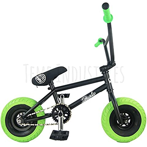 Wildcat Rambo Mini BMX - Matt Black Frame Forks and Bars Ltd Edition w/ Green Grips & Tyres Full Cromoly Bars