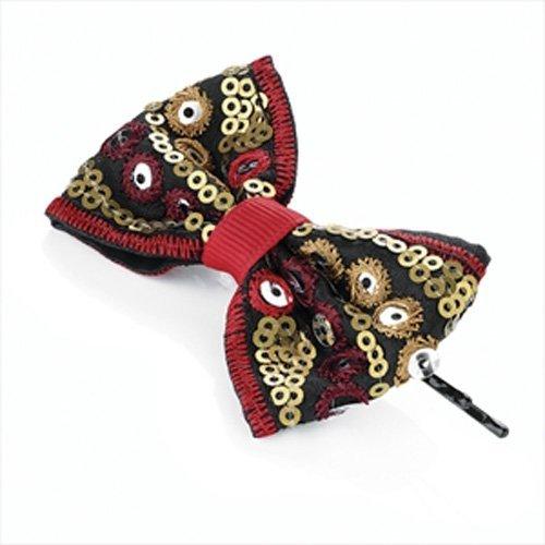 Rouge et or Tribal à paillettes Bow cheveux Grip aj24903