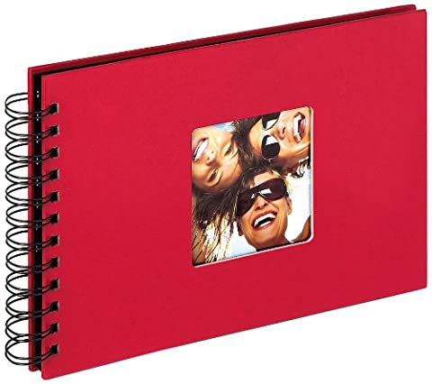 walther design SA-109-R Fun Standart high quality wire-o bound album with die cut for your personal picture, 9 x 6.7 inch (23 x 17 cm), 40 black pages, red