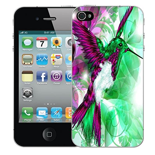 Mobile Case Mate iPhone 5 clip on Dur Coque couverture case cover Pare-chocs - inferno skull Rose Motif avec Stylet humingbird green