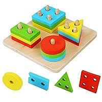ROKOO Educational Wooden Geometric Sorting Board Blocks Montessori Kids Baby Educational Toys Building Blocks