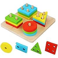 Hrph Educativos de madera geométrico Junta de reunir bloques Montessori para niños juguetes educativos del bebé
