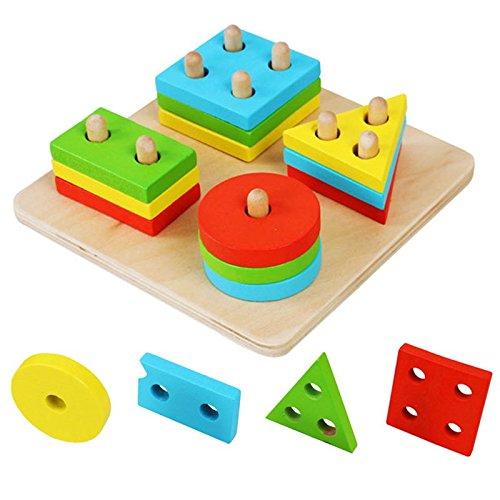 Hrph Educational Holz Geometrische Sortierung Brettblöcke Montessori Kinder Baby-pädagogische Spielwaren -Baustein