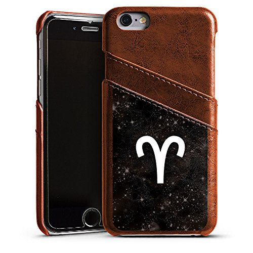 Apple iPhone 5s Housse Étui Protection Coque Wdder Signes du zodiaque Astrologie Étui en cuir marron