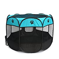 Pet Dog and Cat House, Portable Kennel Puppy Bed House Foldable Cat and Dog Fence Tent, Indoor and Outdoor Use, Black & Blue
