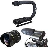 Opteka Action Kit de filmer avec 6,5mm Fisheye, X-GRIP et vidéo Microphone Shotgun pour le Canon EOS Rebel T5i T4i SL11100D 1000D T3i T3T5/60D/600D/650D/7D/350D XS I XT XTi XS T2i, T1i, 50D, 40D, 30D, 20D, 6D, 5D, 1D, Kiss, kiss X4, X5, X6I Kiss, Kiss x7i & 550D Appareil photo reflex numérique
