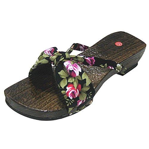 Oasap Damen Do Vintage Floral Geta De Impressão De Madeira Chinelos Sandálias Pretas