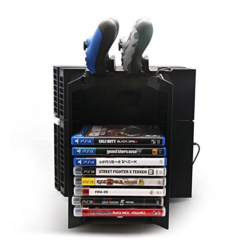 Support Vertical PS4 + Support PS4 Disque Storage Socle rangement + contrôleur Chargeur Dock station de chargement