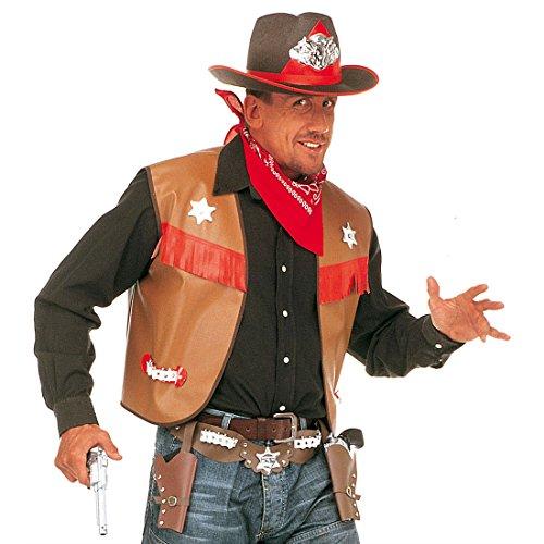 Amakando Cowboy Weste Sheriff Outfit XL 54 braun Revolverheld Kostüm Zubehör Wild West Mottoparty Western Oberteil Wilder Westen Party