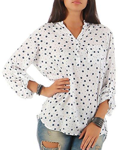 malito Bluse im Sternen-Design mit V-Ausschnitt 6365 Damen One Size Weiß